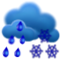 oblačno s mrholením a snehovými prehánkami